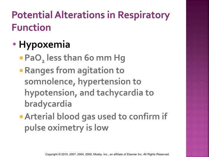 Potential Alterations in Respiratory Function