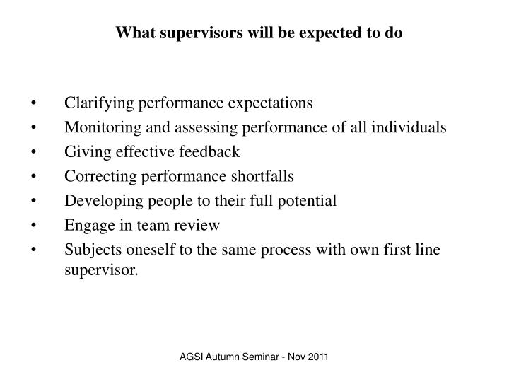 What supervisors will be expected to do