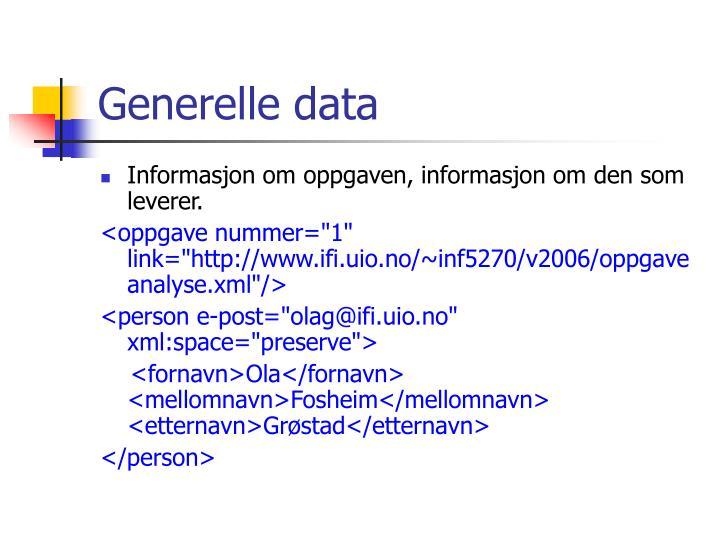 Generelle data