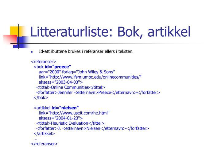 Litteraturliste: Bok, artikkel