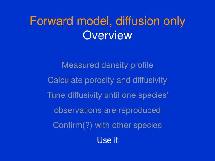 Forward model, diffusion only