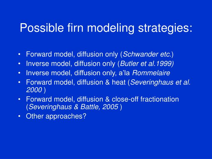 Possible firn modeling strategies