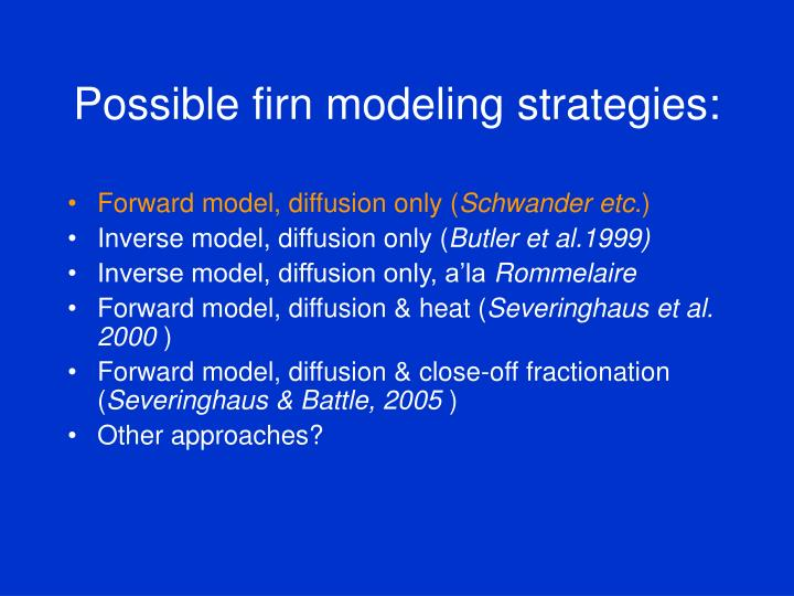 Possible firn modeling strategies1