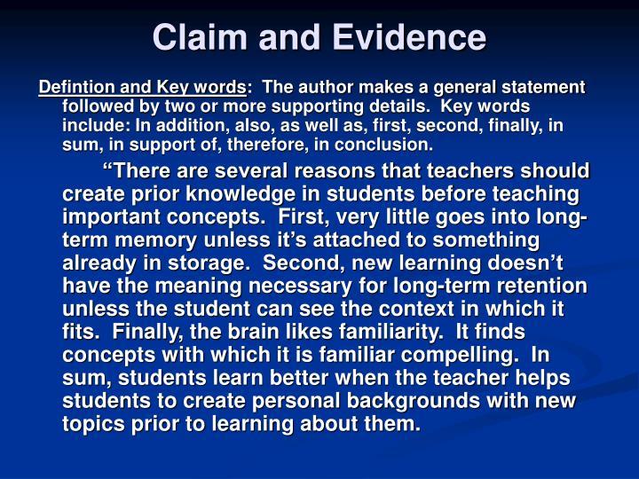Claim and Evidence