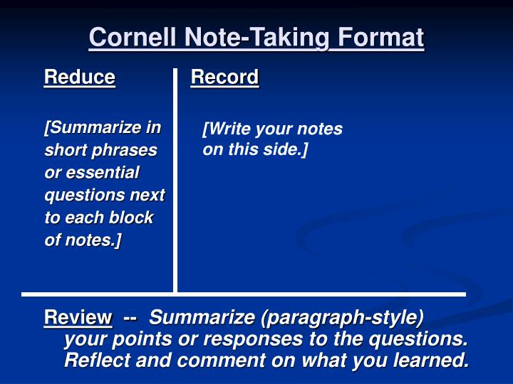 Cornell Note-Taking Format