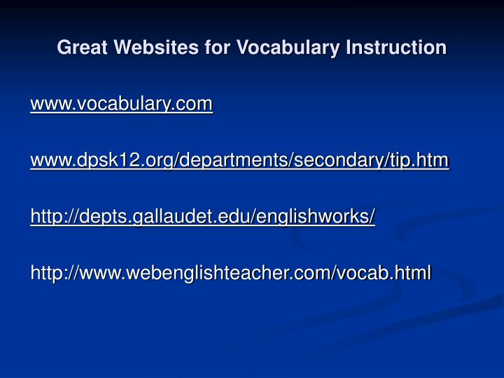 Great Websites for Vocabulary Instruction