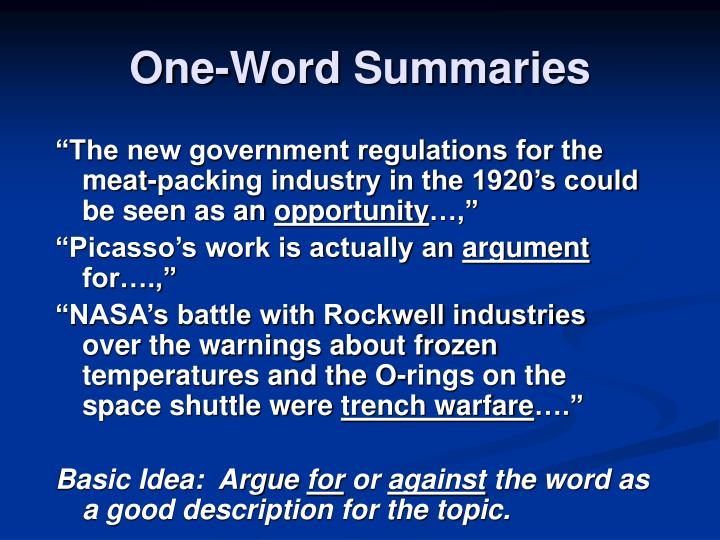 One-Word Summaries
