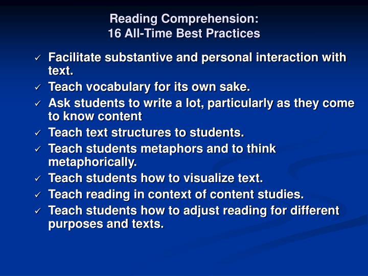 Reading Comprehension: