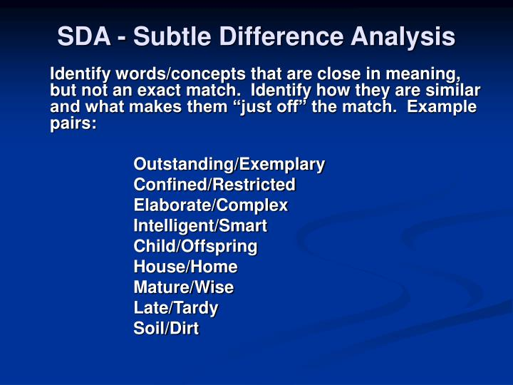 SDA - Subtle Difference Analysis
