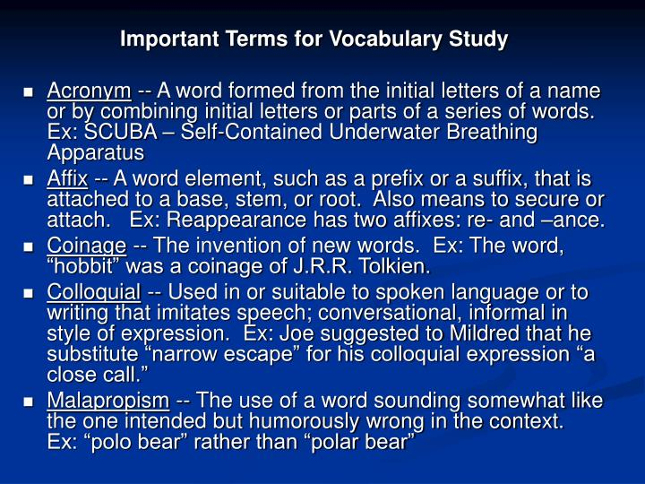 Important Terms for Vocabulary Study