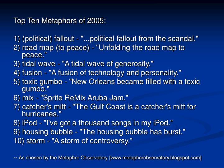 Top Ten Metaphors of 2005: