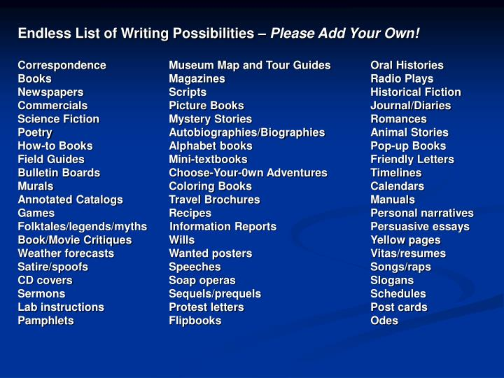Endless List of Writing Possibilities –