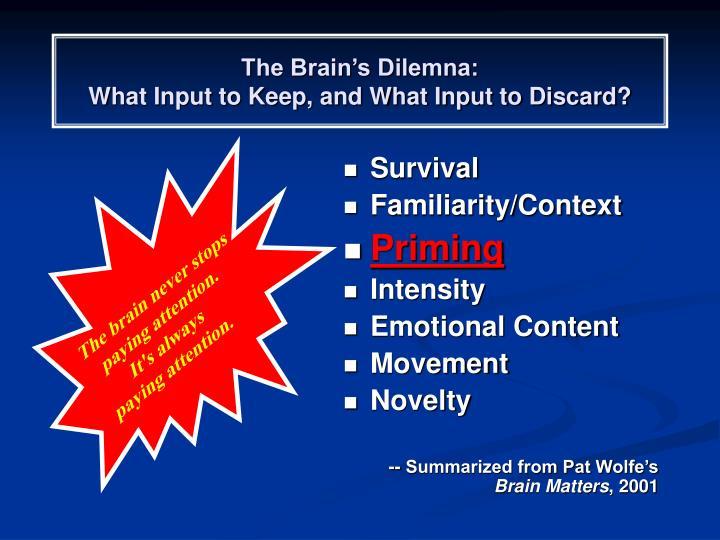 The Brain's Dilemna: