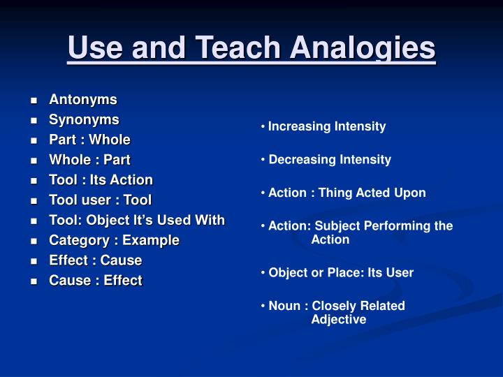 Use and Teach Analogies