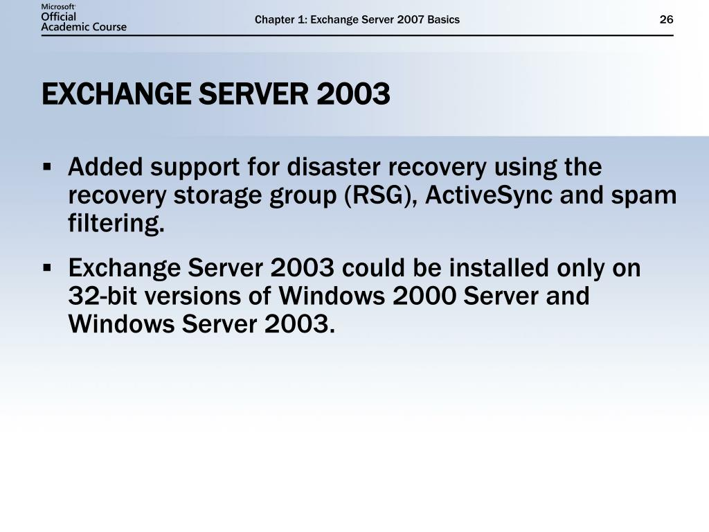 PPT - Exchange Server 2007 Basics PowerPoint Presentation - ID:3874419