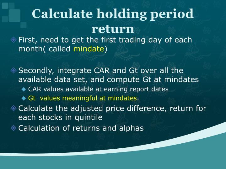 Calculate holding period