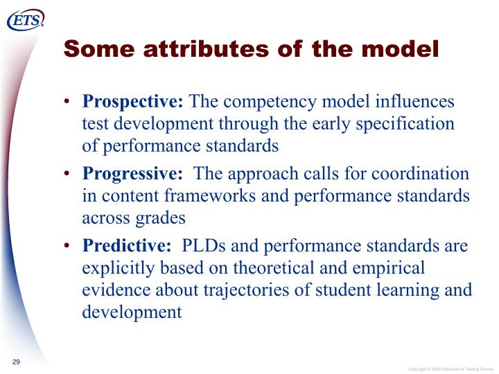 Some attributes of the model
