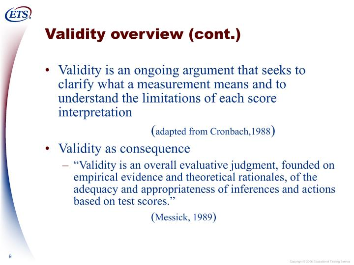 Validity overview (cont.)