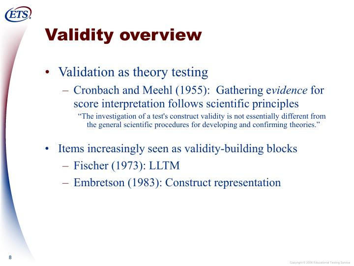 Validity overview