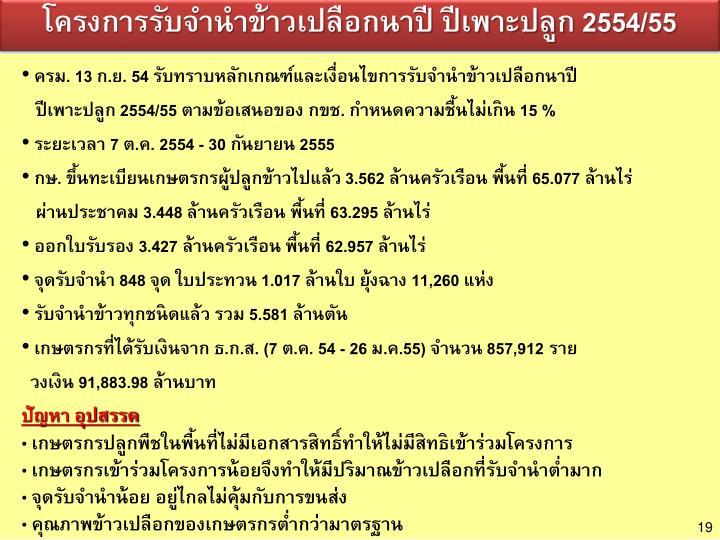โครงการรับจำนำข้าวเปลือกนาปี ปีเพาะปลูก 2554/55
