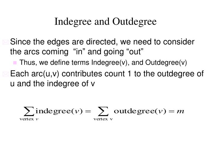 Indegree and Outdegree