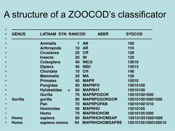 A structure of a ZOOCOD's classificator