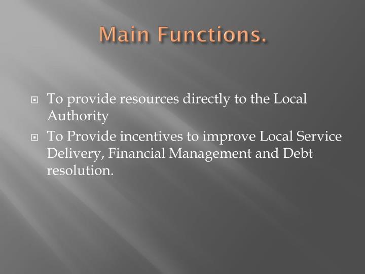 Main functions