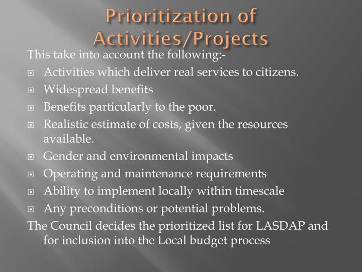 Prioritization of Activities/Projects