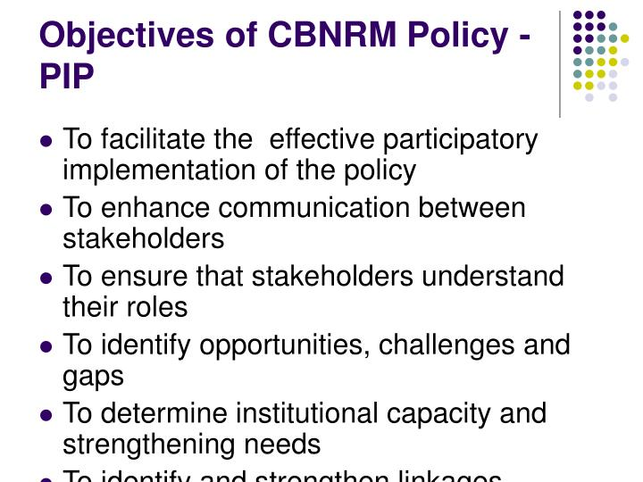 Objectives of CBNRM Policy - PIP