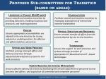 proposed sub committees for transition based on areas