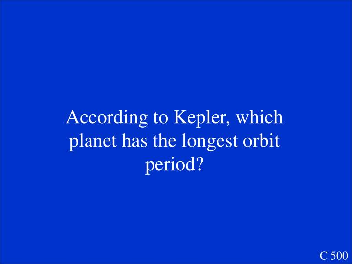 According to Kepler, which planet has the longest orbit period?
