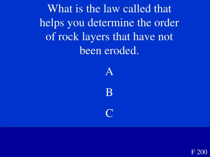 What is the law called that helps you determine the order of rock layers that have not been eroded.