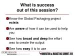 what is success out of this session