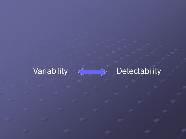 Variability                     Detectability