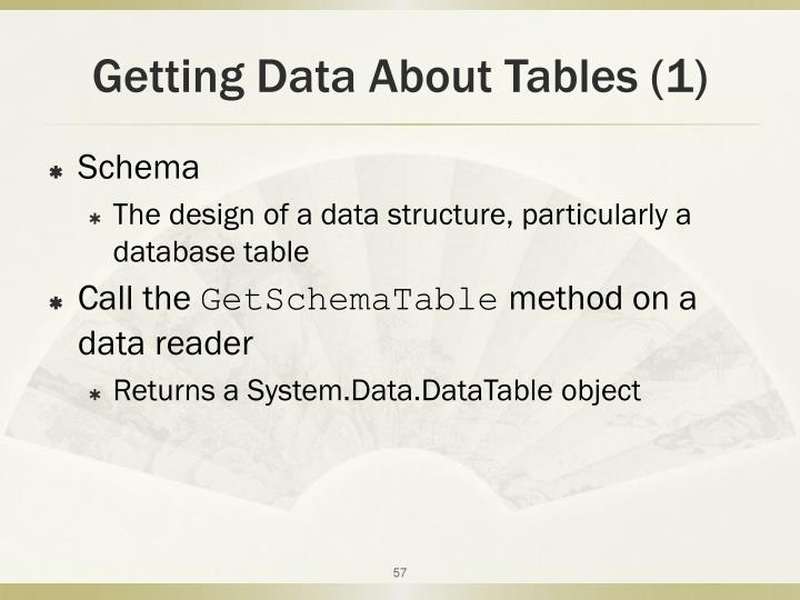 Getting Data About Tables (1)