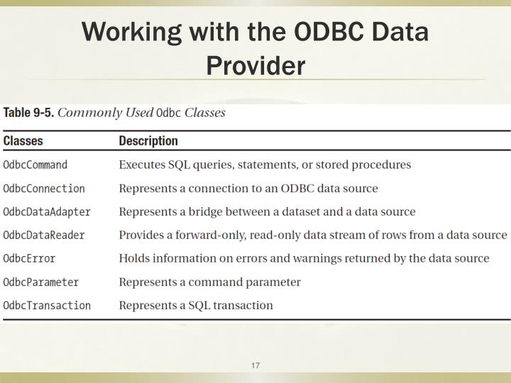 Working with the ODBC Data Provider