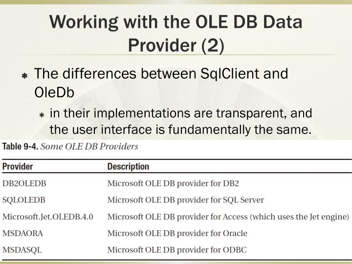 Working with the OLE DB Data Provider (2)