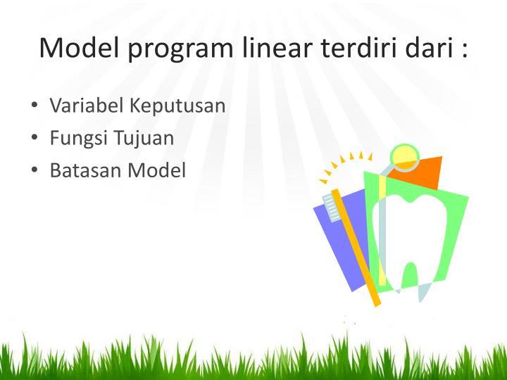 Model program linear terdiri dari
