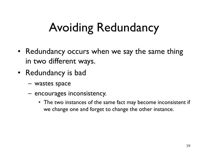 Avoiding Redundancy