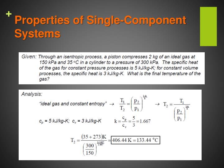 Properties of Single-Component Systems