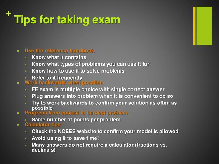 Tips for taking exam