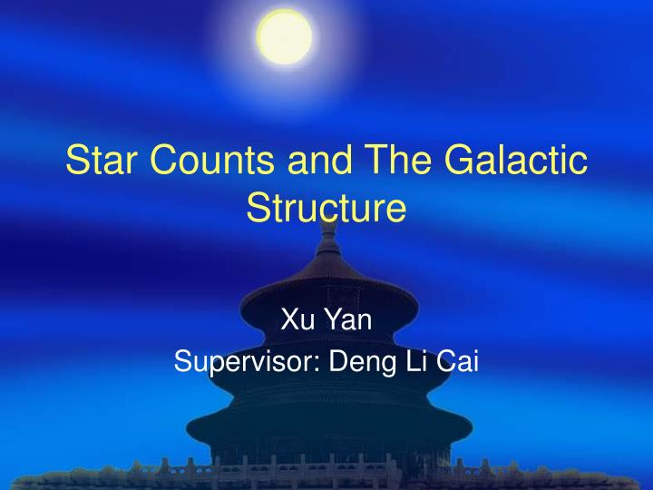 star counts and the galactic structure n.