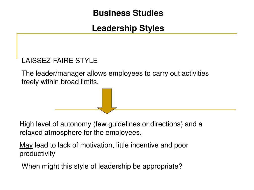 Ppt Business Studies Leadership Styles Powerpoint Presentation Free Download Id 3875990