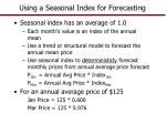 using a seasonal index for forecasting