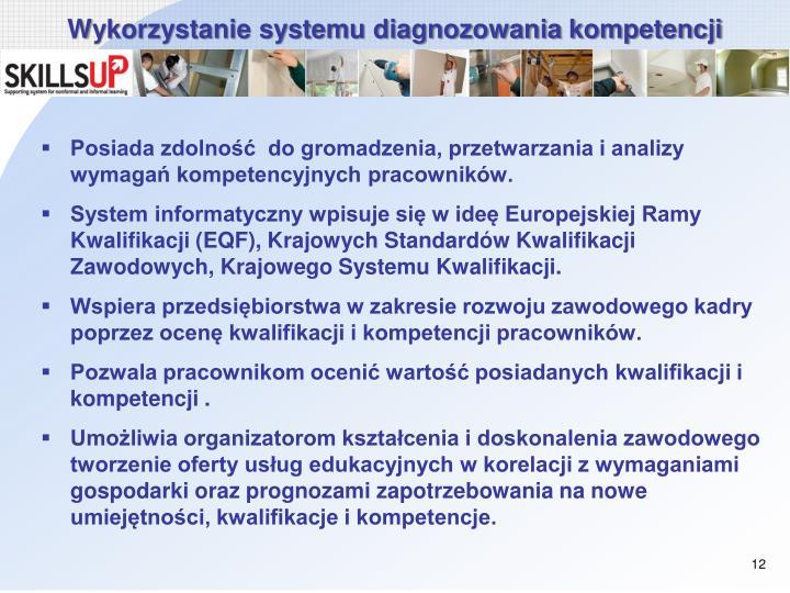 Wykorzystanie systemu diagnozowania kompetencji