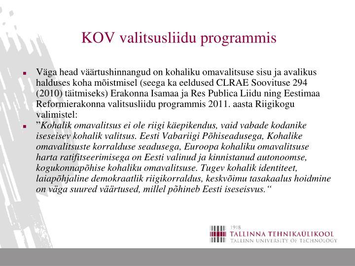 KOV valitsusliidu programmis