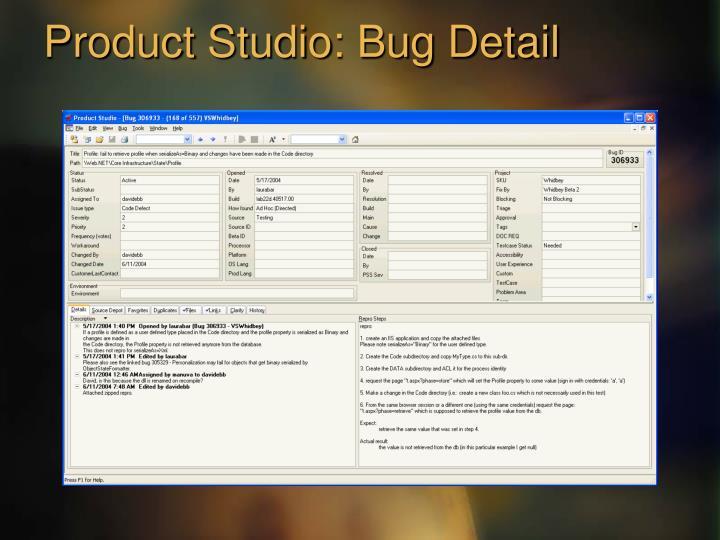Product Studio: Bug Detail