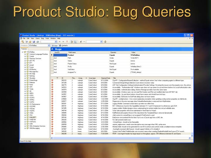 Product Studio: Bug Queries
