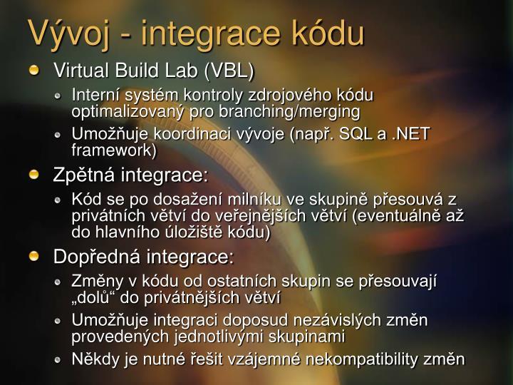 Vývoj - integrace kódu