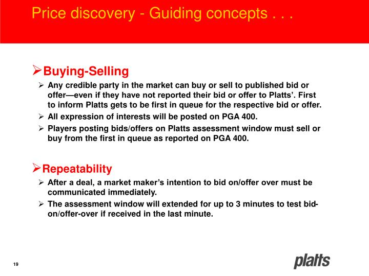 Price discovery - Guiding concepts . . .